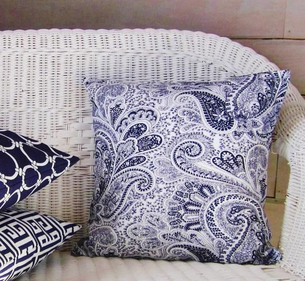 Navy Blue Paisley Pillow