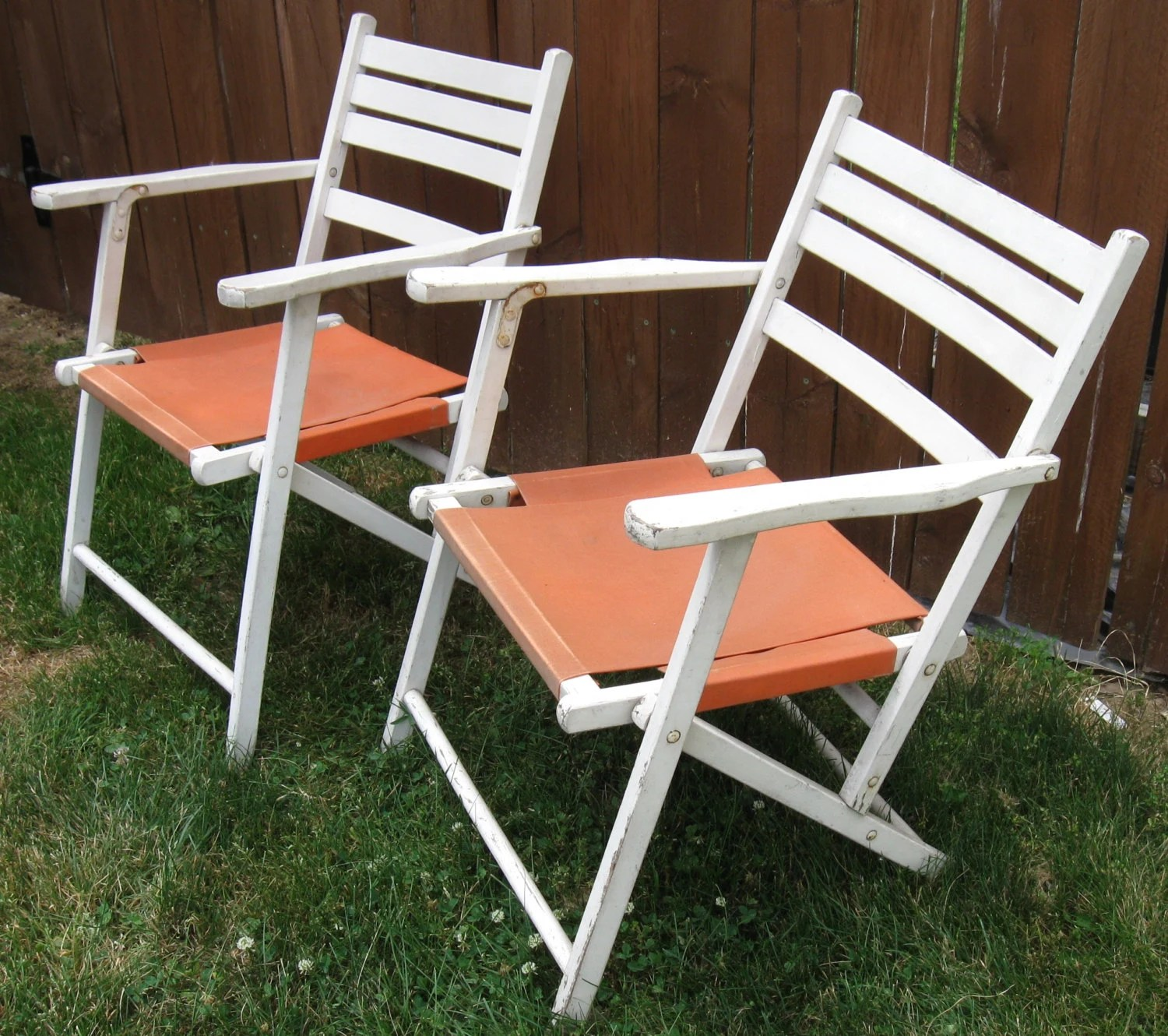 Folding White Chairs Pair Of Vintage White Wooden Folding Deck Chairs By