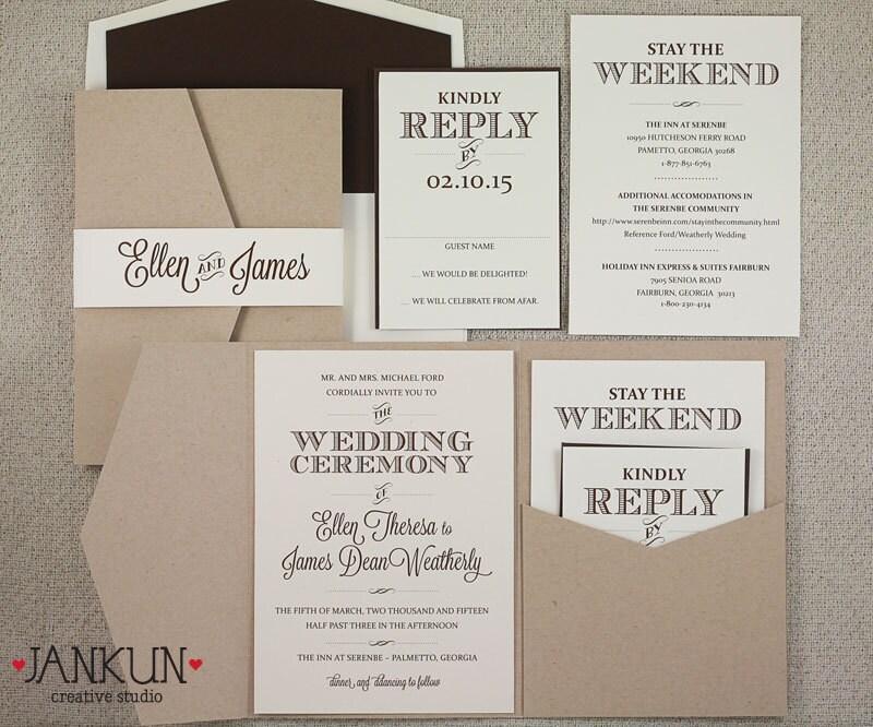 Rustic Kraft Paper Pocketfold Invitation OnePaperHeart Stationary I
