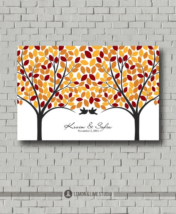 Fall Love Tree Guest Book Wedding Guest Book Signature Tree