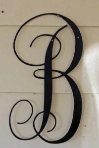 22 inch Black Script Metal Letter B Door or Wall