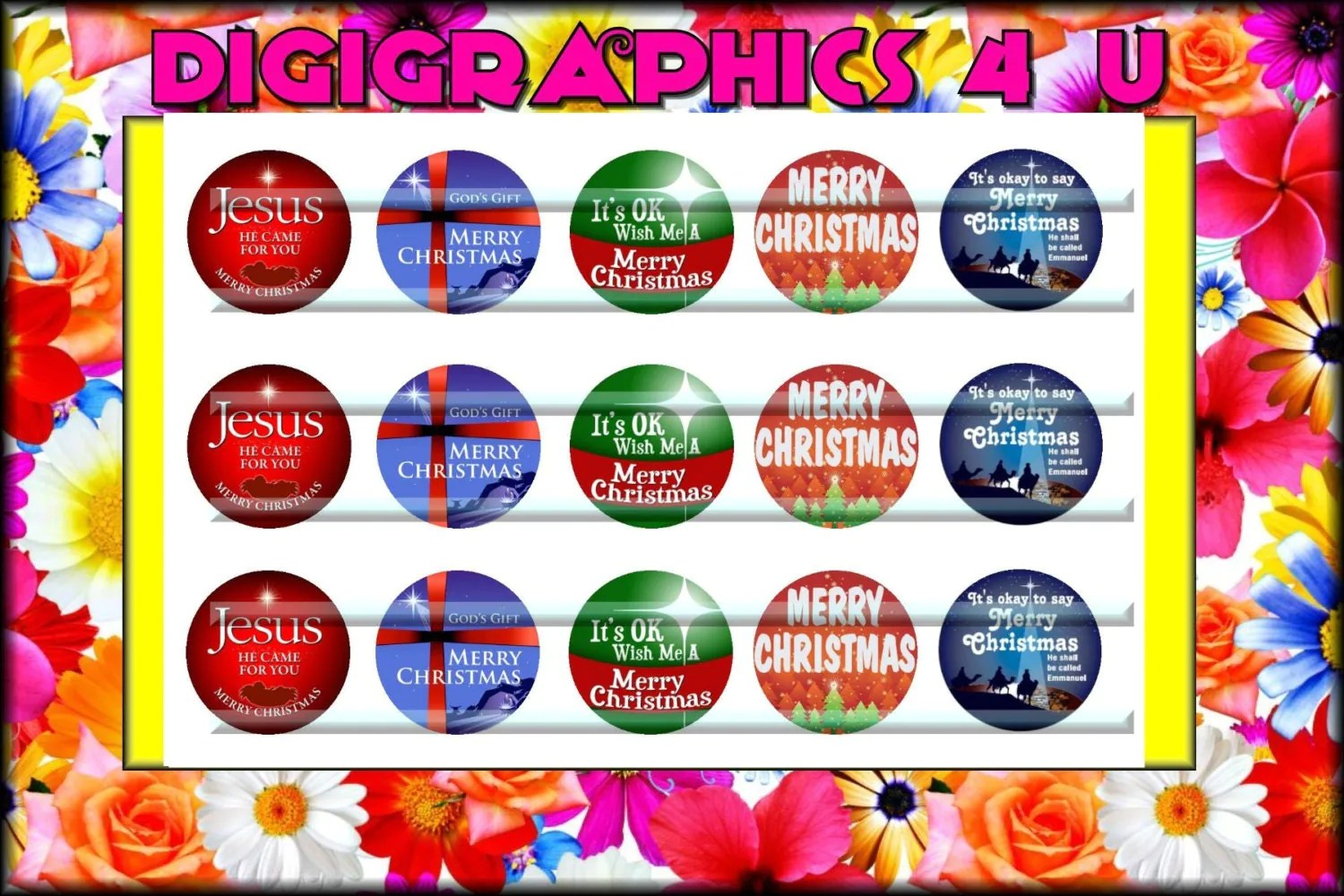Christmas Holiday 1 Inch Bottle Cap Images For Hairbows