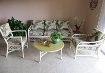 Vintage Rattan Bamboo Furniture Set 4 Piece Palm Beach Style