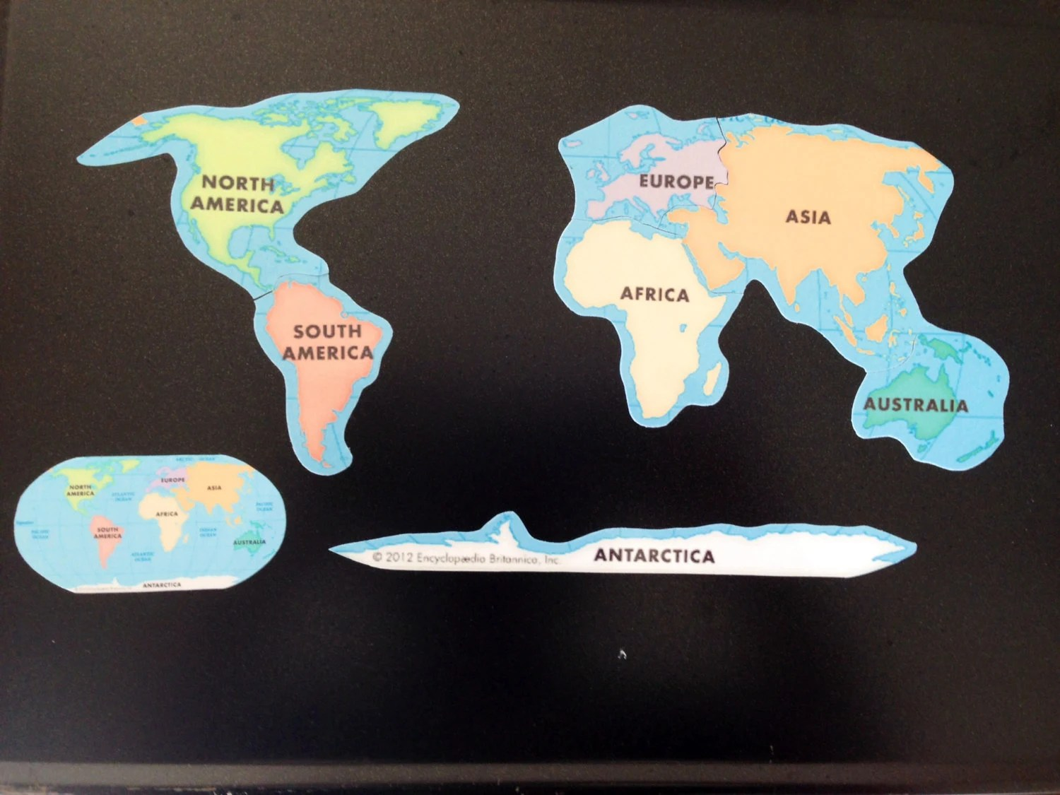 Magnetic Puzzle Map Of Continents Educational Learning