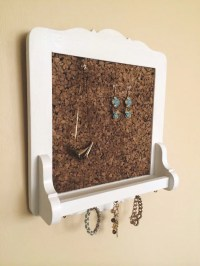 Hanging Jewelry Wall Organizer Cork Board Display Vintage Chic