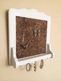 Hanging Jewelry Wall Organizer Cork Board Display Vintage Chic