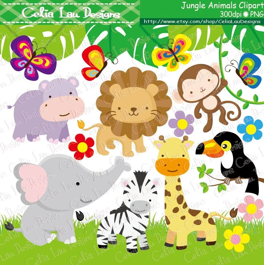 Jungle Animals Clipart Baby Jungle Animals Clipart  Safari