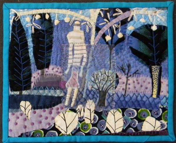 Fabric Collage. Textile Art. Mixed Mediafiber Art Wall Hanging