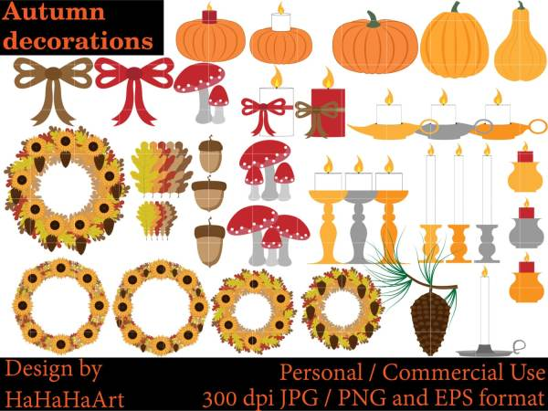 autumn fall decorations clipart