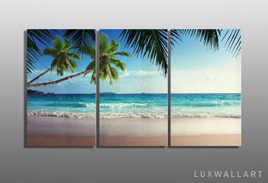 Palm Trees Triptych Tropical Metal Wall Art Ready To Hang