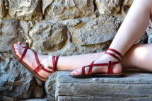 Red Leather Women Sandals Barefoot Brown