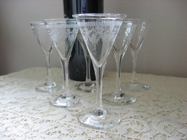 Etched Crystalglass Vintage Cordial Glasses Set Of 6