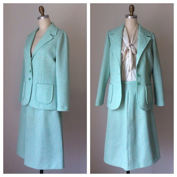 Vintage 70s Jadeite Green Skirt Suit Mint Business