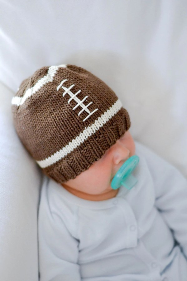 Knit Football Baby Hat Pattern