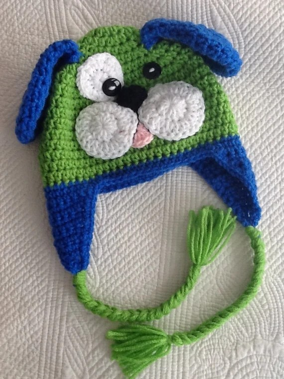 Crochet Puppy Dog Hat with Fleece Lining, Child Animal Hat, Puppy Hat, Crochet Baby Hat, Winter Hat, Baby Hat, Newborn Hat, Child Hat