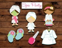 Spa party cupcake toppers spa party decor slumber party