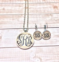 Silver Monogram Necklace and Monogram Earrings ...