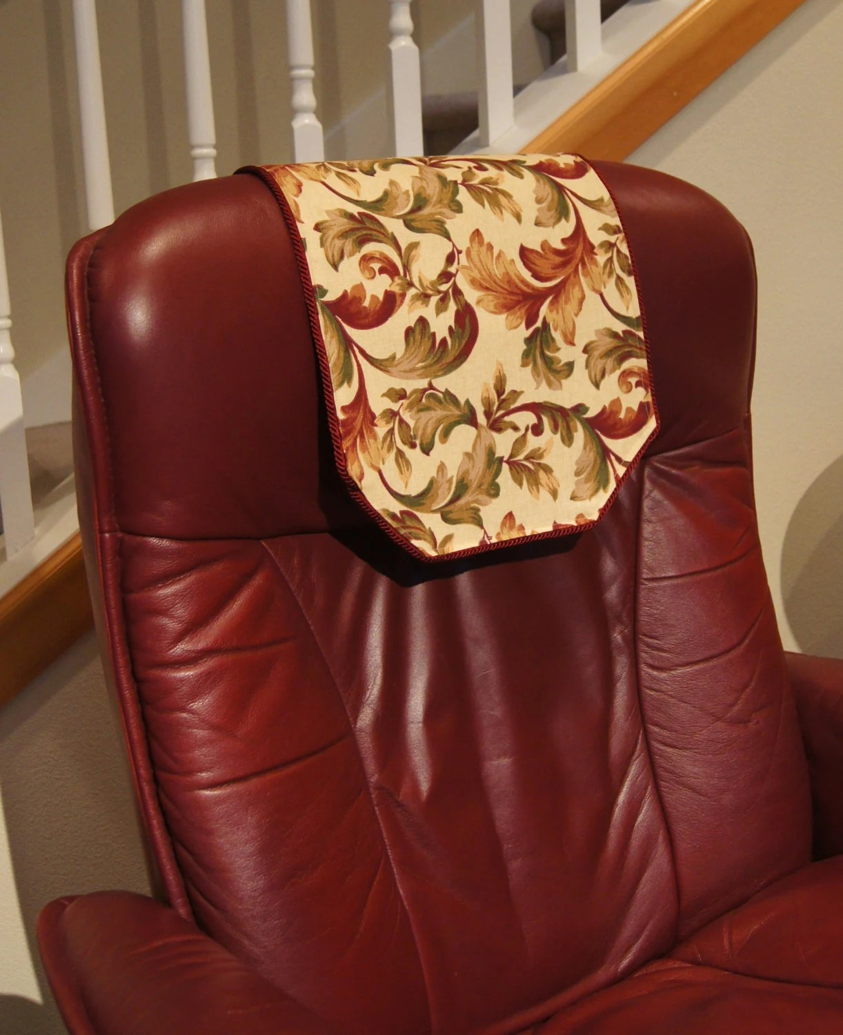 chair covers for headrest cover rentals belleville recliner burgundy floral by