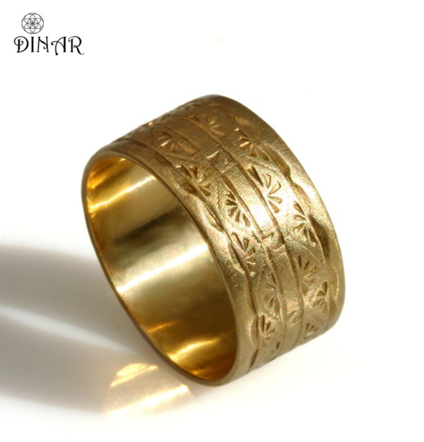 14k Solid Yellow Gold Band 10mm Wide Wedding Art Deco