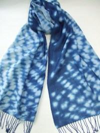 Hand dyed indigo scarf Japanese indigo shibori wool and