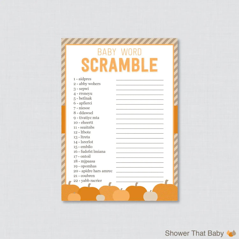Little Pumpkin Baby Shower Word Scramble Game Printable
