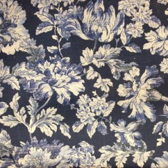 French Country Sofa Fabric Full Size Memory Foam Sleeper Mattress Blues Floral Upholstery By The