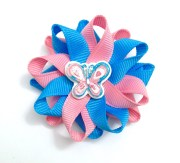 blue & pink butterfly small hair