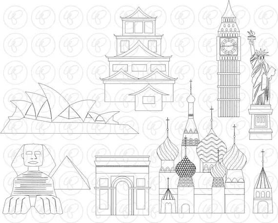 Let's Go Abroad World Landmarks Set 2 Digital Clip Art