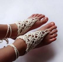 Ivory Girls Barefoot Sandals Crochet Knitsbyvara