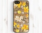 Daffodil Pattern iPhone Case, Personalized Monogram Printed Image Wood iPhone 5s / 5, iPhone 5C, iPhone 4S, Samsung Galaxy S3 S4 Note 3 np41