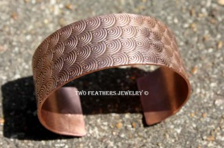 Spiral Copper Cuff Bracelet - Spiral Pattern Solid Copper Cuff - 7th Anniversary - Copper Bracelet - Wide Cuff - Two Feathers Jewelry