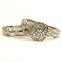 Antique Art Deco Engagement Wedding Ring Set 14k Palladium