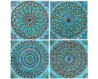 4 Moroccan wall hangings // Ceramic tiles // Wall decor