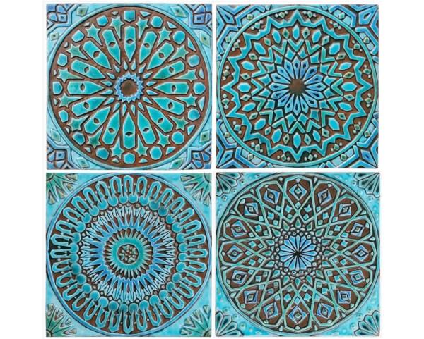 4 Moroccan Wall Hangings Ceramic Tiles Decor
