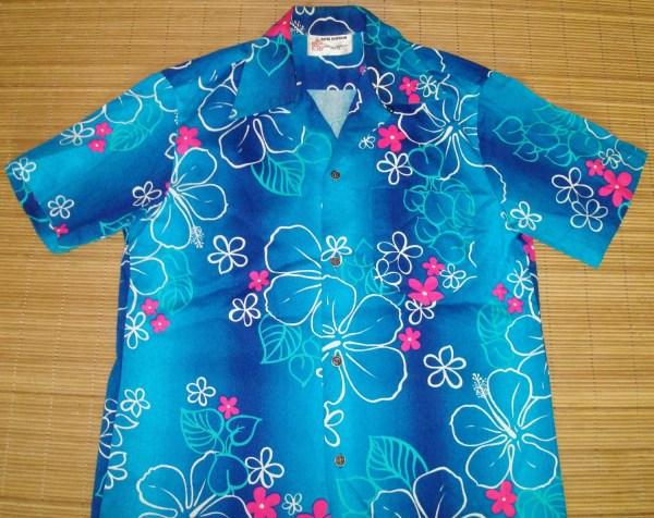 Mens Vintage 60s Royal Hawaiian Ocean Blue Surf Bark Cloth