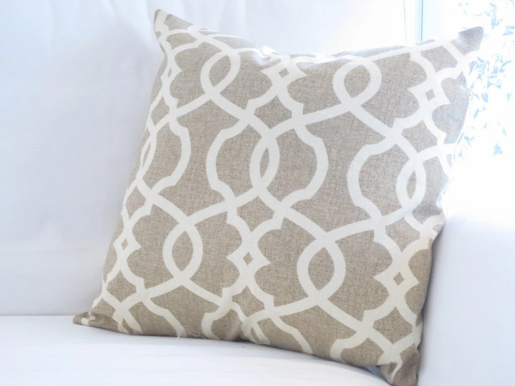 Oatmeal Neutral Trellis Lattice Pillow Cover Chair Pillow
