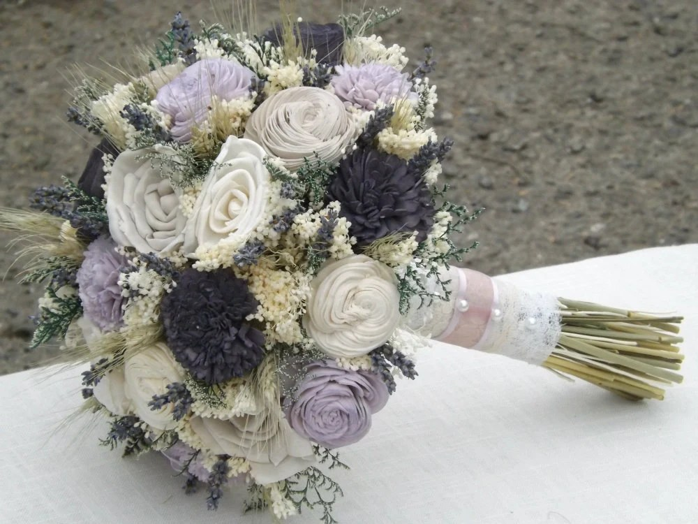 Dried Lavender Wheat Sola Flower Bride Bouquet Taupe
