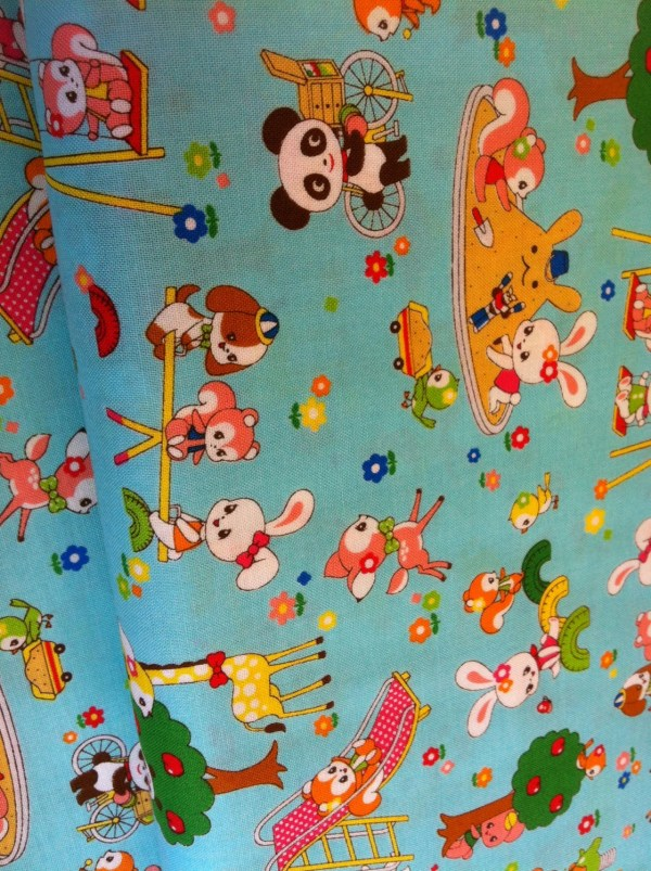 Japanese Cartoon Fabric In Blue Theswankystitchery