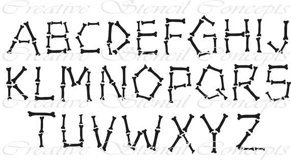 Bones Alphabet Stencil Full Set of 26 Individual Stencils