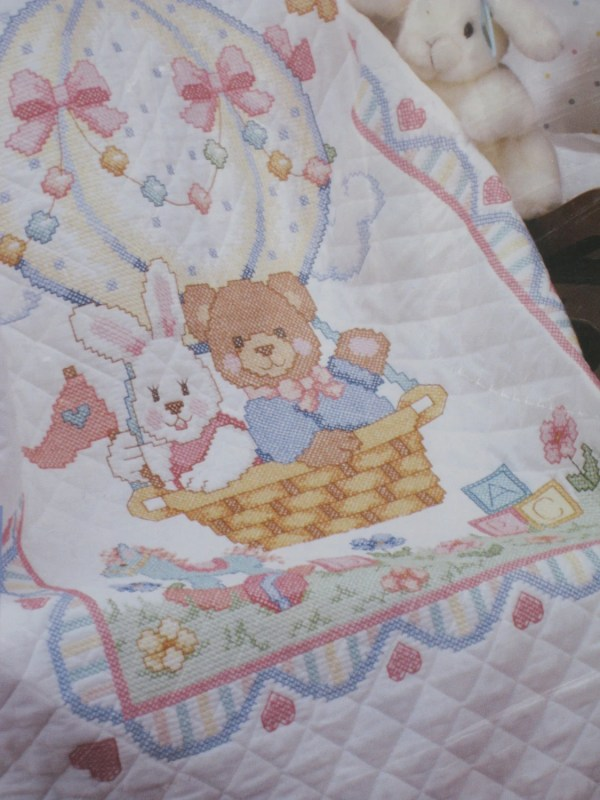 Baby Quilt Kit Stamped Cross Stitch 1992 Dimensions Bear