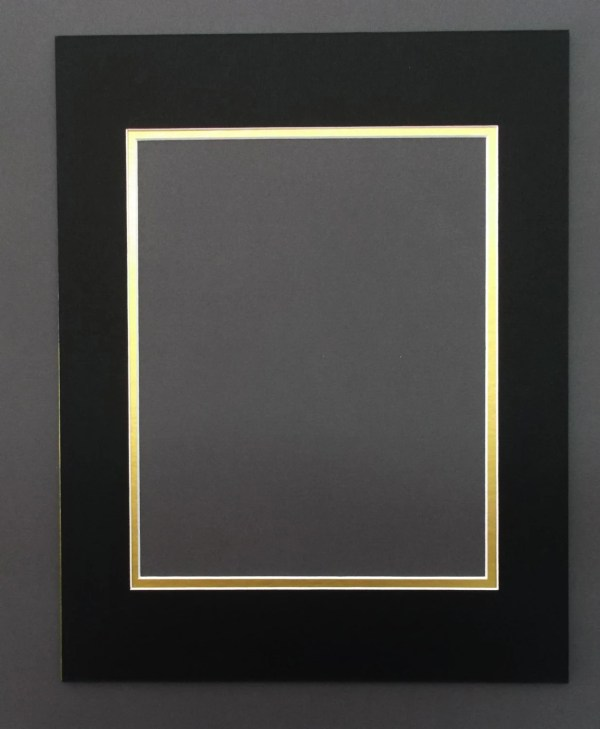 16X20 Black amp Gold Double Picture Mat with White Core
