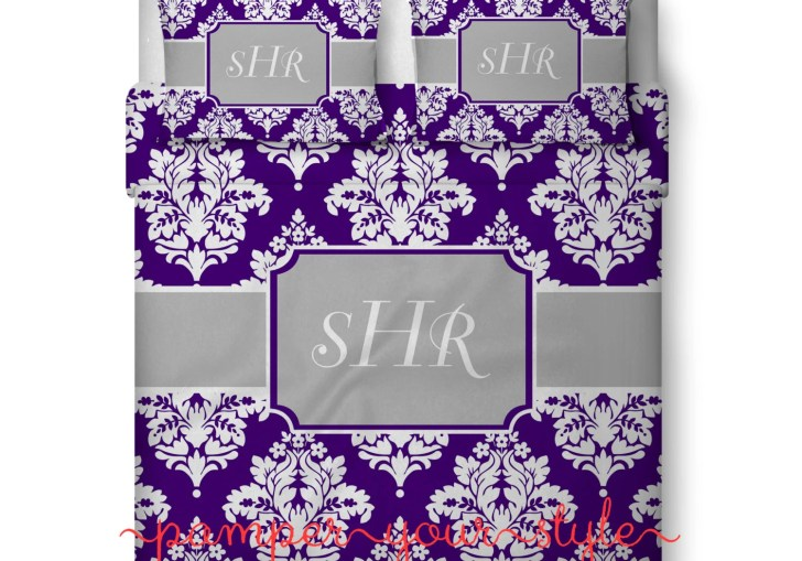 Purple And Grey Damask Bedding