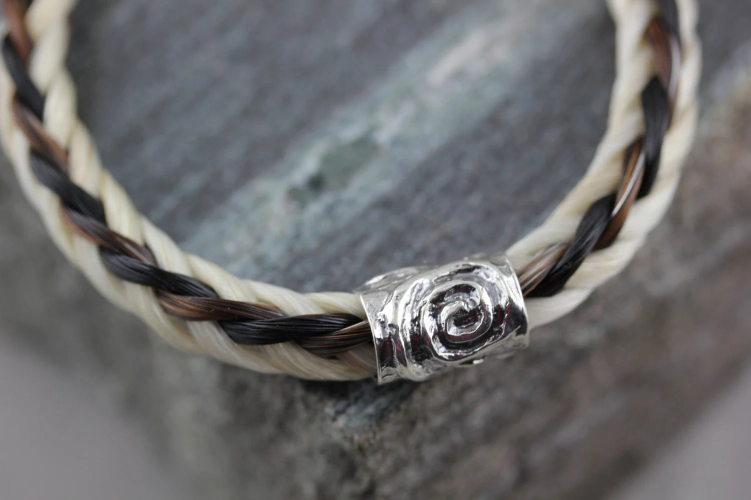 Custom Horse Hair Square Braid Bracelet With SS Hand Stamp Tag