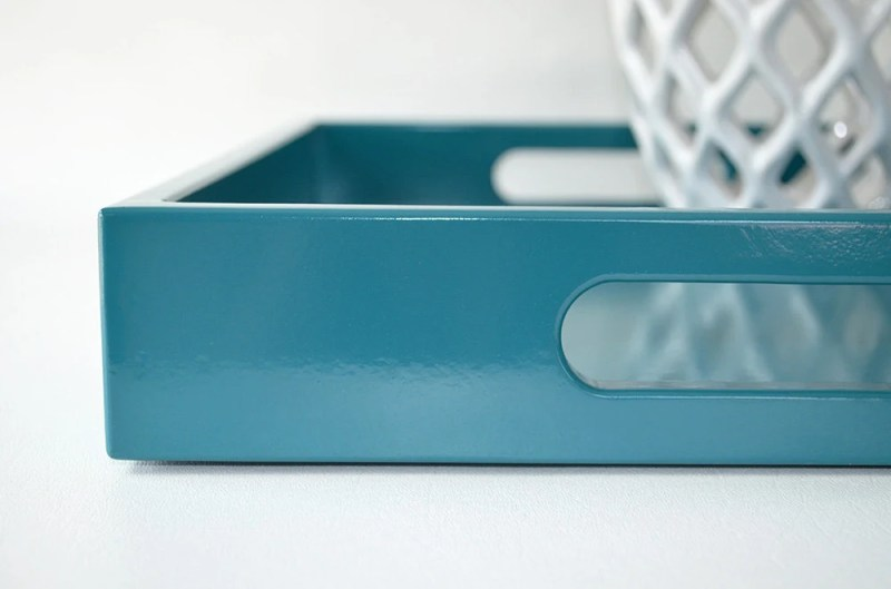 Teal Lacquered 14 x 18 Serving Tray, Coffee Table Tray, Teal Home Decor, Ottoman Tray