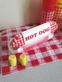 Red White Check gingham Hot dog paper holders red hot dog