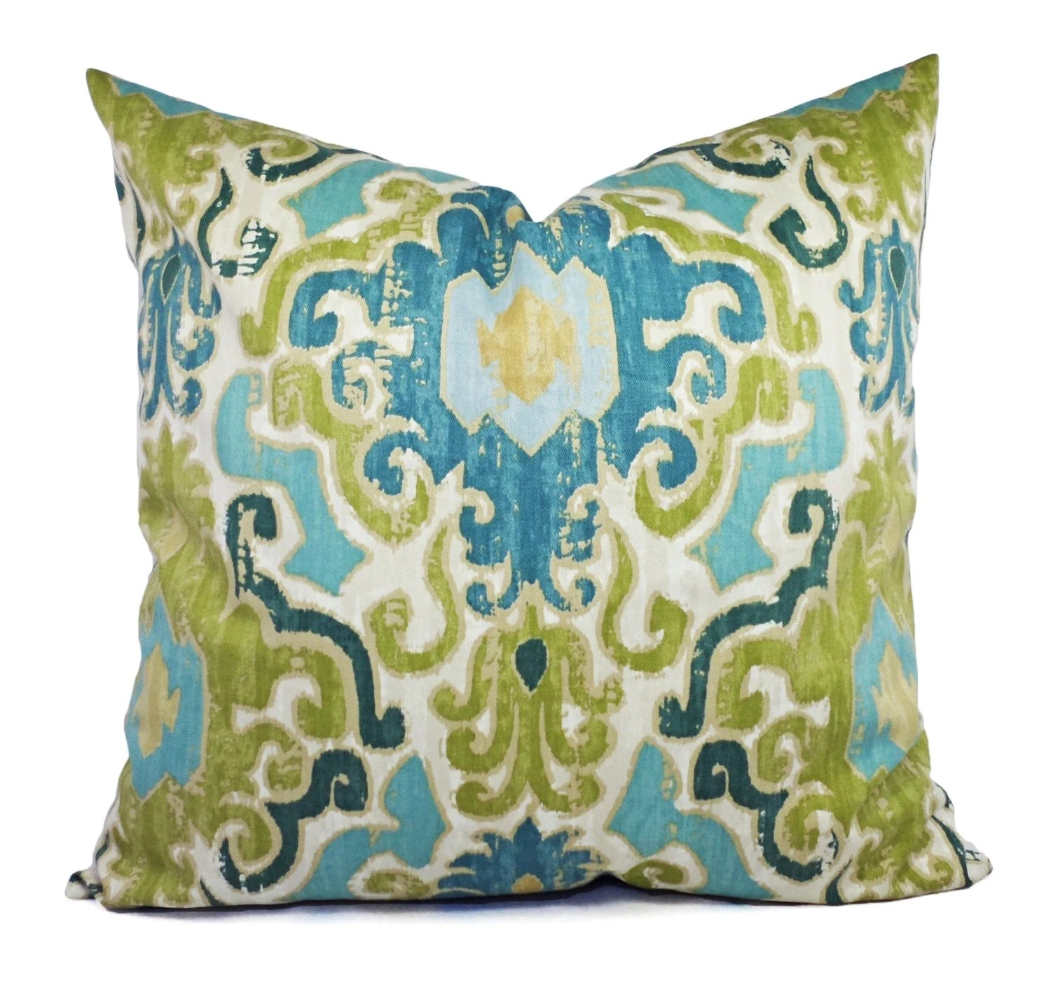Two Pillow Covers Blue Green Ikat Pillows Blue Green