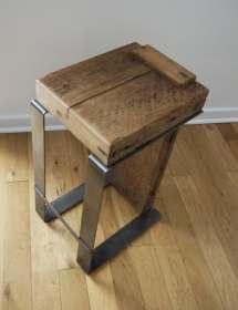 Reclaimed Wood Bar Stool. Industrial Handmade