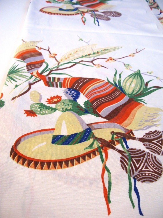 Vintage Linen Wilendur Tablecloth Mexican Pottery Serapes