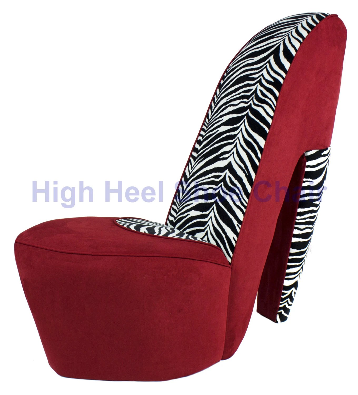 high heel chair comfy and ottoman red zebra shoe by highheelshoechaircom
