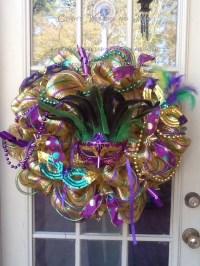 Mardi Gras Wreath Mesh Wreath Mask Door Decor by ...
